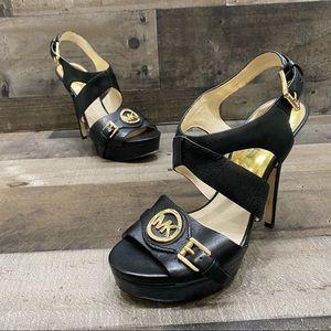 Michael Kors Black Leather Pumps Heels Size 7